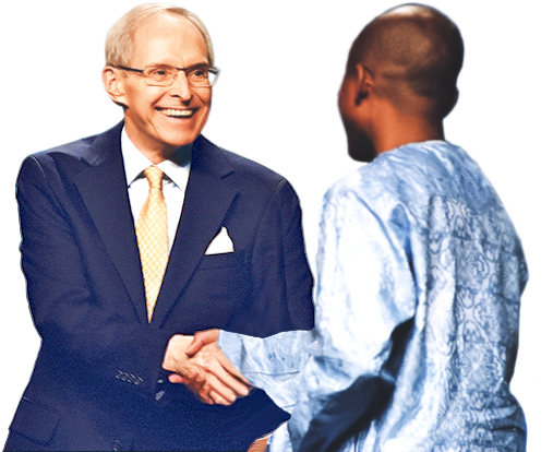 Sri Harold Klemp shaking hands with someone