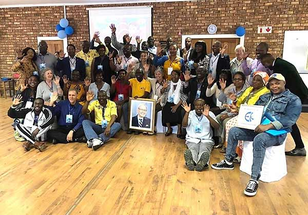 Members of Eckankar taking a group picture in South Africa